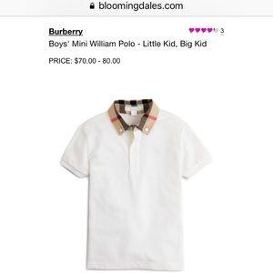 cffee76112350 Burberry Shirts   Tops - Burberry Boys Mini William Check Collar Polo